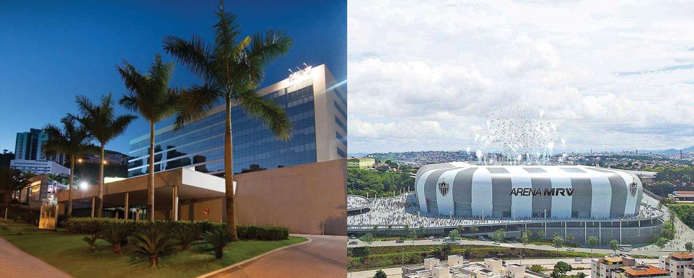 Sede da empresa MRV, em Belo Horizonte, Minas Gerais. Na foto à direita, o projeto da Arena MRV